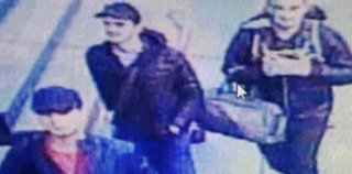 A still image from CCTV camera shows the three men believed to be the attackers walking inside the terminal building at Istanbul airport