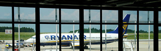 A Ryanair aircraft parks on the tarmac of Frankfurt Hahn airport
